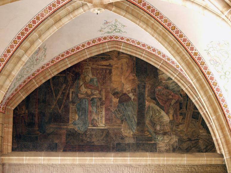 Kaiser Otto III. (983-1002) ließ im Jahr 1000 an Pfingsten das Grab Karls des Großen in der Aachener Marienkirche öffnen. Schon Zeitgenossen kritisierten dieses Tun als Grabfrevel, für den Gott den Kaiser mit seinem frühen Tod bestraft habe. (Fresko von Alfred Rethel, 1847)
