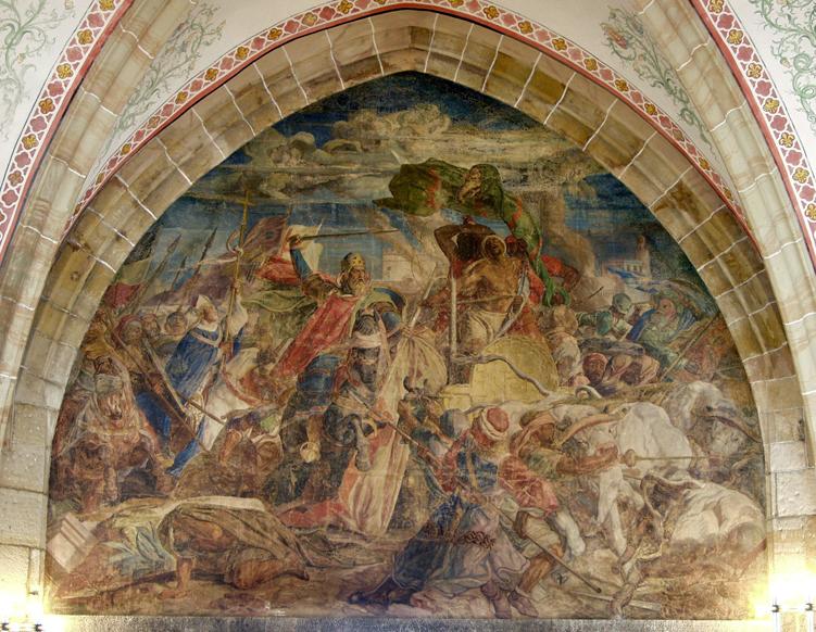 Der Aachener Historienmaler Alfred Rethel hat in seinem Fresko den Sieg Karls des Großen über die Sarazenen bei Córdoba im Jahr 778 dargestellt (1849/50).